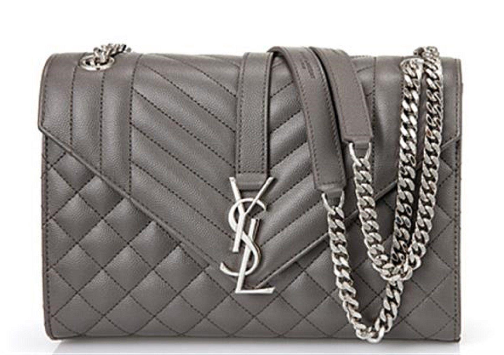 227fd32086ef Saint Laurent YSL Women s Earth Gray with Silver Hardware Medium Envelope  Chain Shoulder Bag 428134  Designer  DesignerHandbags  BeverlyHills   Fashion ...
