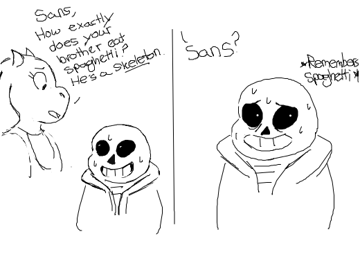 Toriel and Sans wonder how Papyrus manages to eat spaghetti