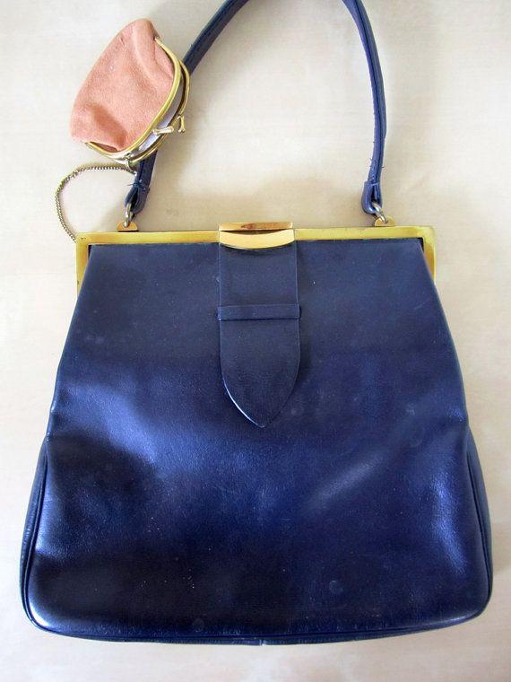 Vintage Purse   50 s Leather Handbag   by KikuVintageBoutique  fashion c4d7604e08423