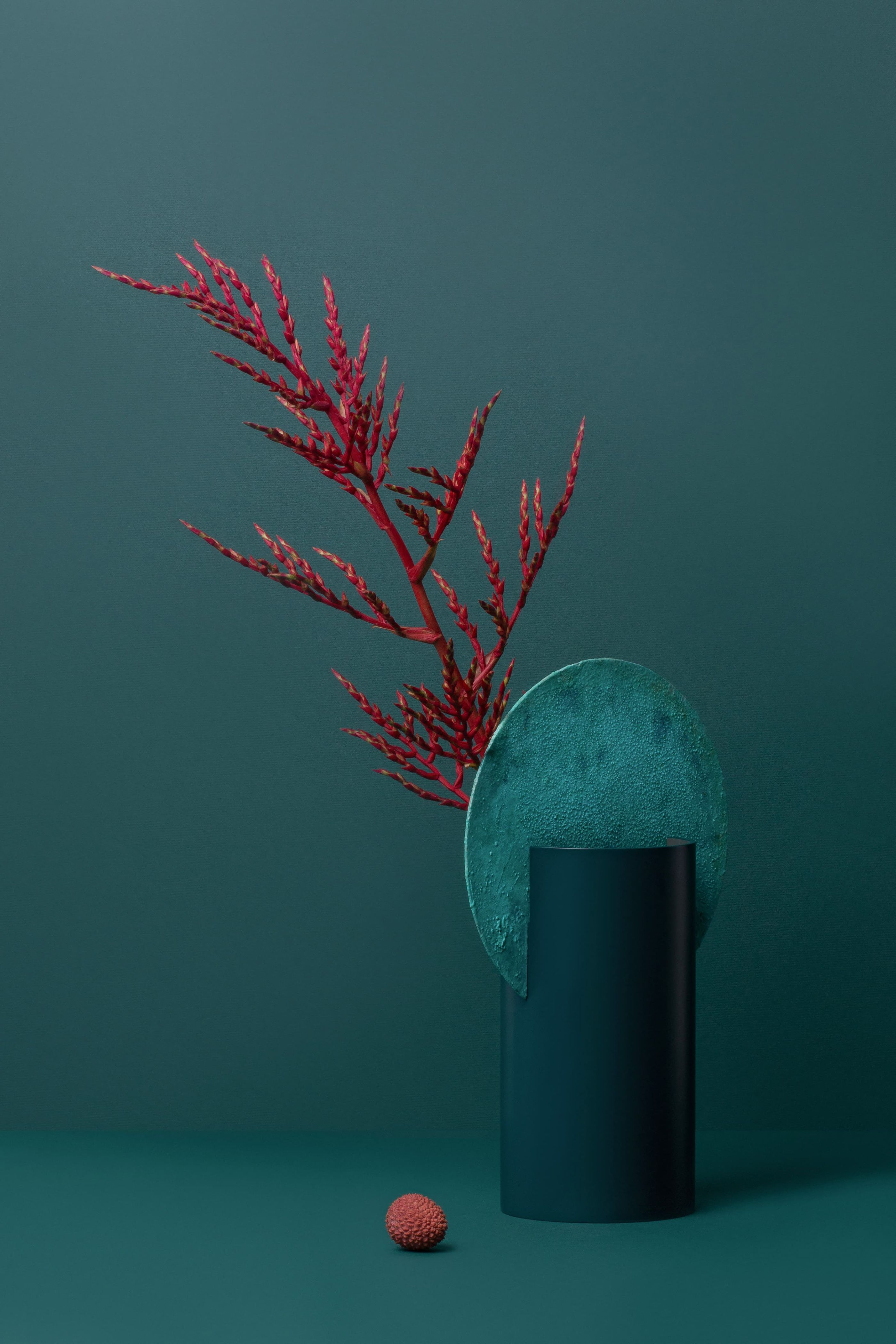 Elegant oxidized copper and painted steel vase by noom