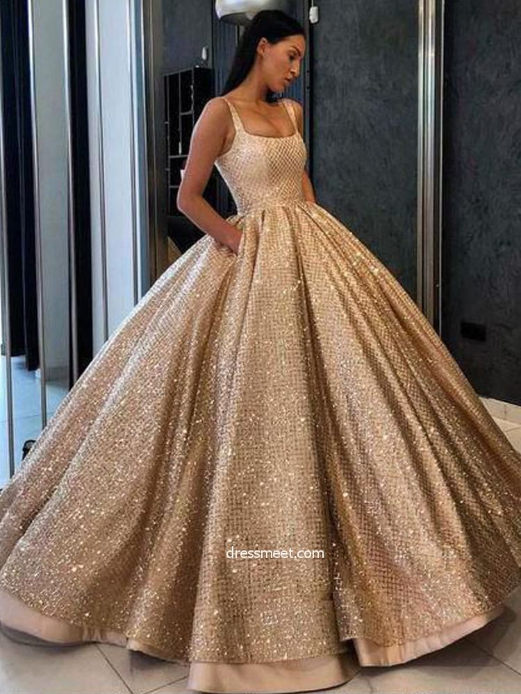 2019 Gorgeous Ball Gown Round Neck Open Back Gold Sequins Long Prom Dresses fd9e65093db0