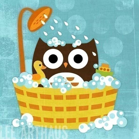 Retro Owl In Bathtub Print By Lee ArtHaus
