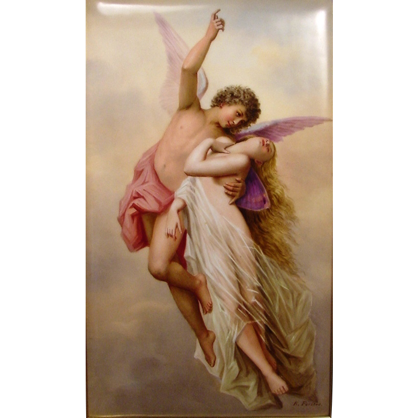 Superb Porcelain Plaque Cupid Psyche Signed K Forster Cupid And Psyche Painting Artist