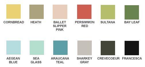Martha Stewart Color Palette Paint Color Chart Martha Stewart Paint Home Depot Paint Colors