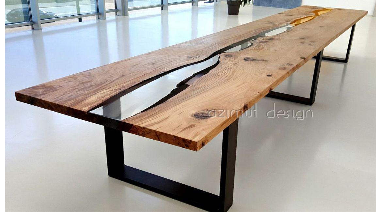 Tavolo Disegno ~ Tavolo in legno e resina realizzato custom da azimut resine