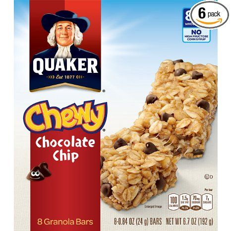 #Amazon: $10.36: Prime Members: 48-Ct Quaker Chewy Granola Bars (Chocolate Chip) $7.25  Free Shipping #LavaHot http://www.lavahotdeals.com/us/cheap/prime-members-48-count-6-8-bar-boxes/90709