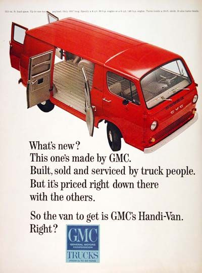 60fd2248339a9e 1965 GMC Handi Van original vintage advertisement. This one s made by GMC.  Built