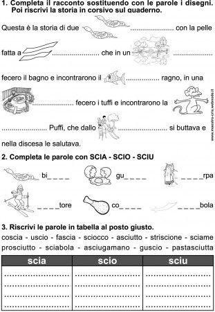 Scheda Esercizio Scia Scio Sciu Classe Prima Schede Didattiche