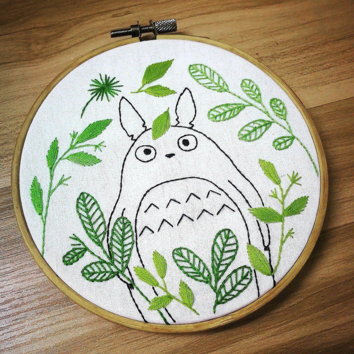 Totoro Embroidery-My Neighbor Ghibli Studio Totoro Hand Embroidery Totoro Pattern Blue Flower Nursery Art #embroiderypatternsbeginner