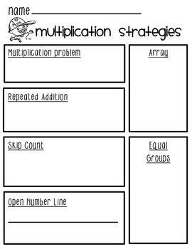 multiplication strategies worksheet flipbook visuals times table with guides multiplication. Black Bedroom Furniture Sets. Home Design Ideas