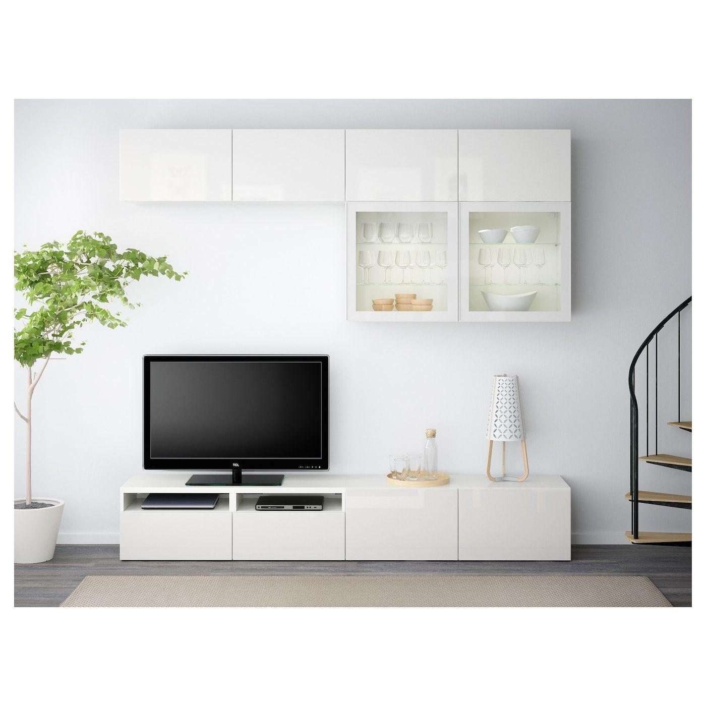 Besta Tv Komb Mit Vitrinenturen Weiss Selsviken Hochglanz Klarglas Weiss 240x40x230 Cm Hier Entdecken Ikea Osterreich In 2020 Tv Storage Home Ikea