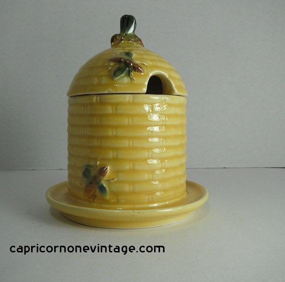 Vintage Goebel Honey Pot Bee Hive West Germany 1970s Kitsch Kitchen Decor Bumblebee Porcelain Jam