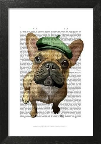 Framed Art Print Brown French Bulldog With Green Hat By Fab Funky