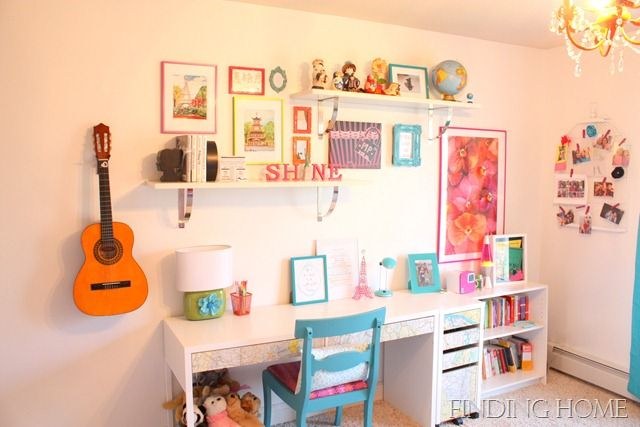 Decorating Ideas Tween Girl Bedroom Desk with shelves, Painted