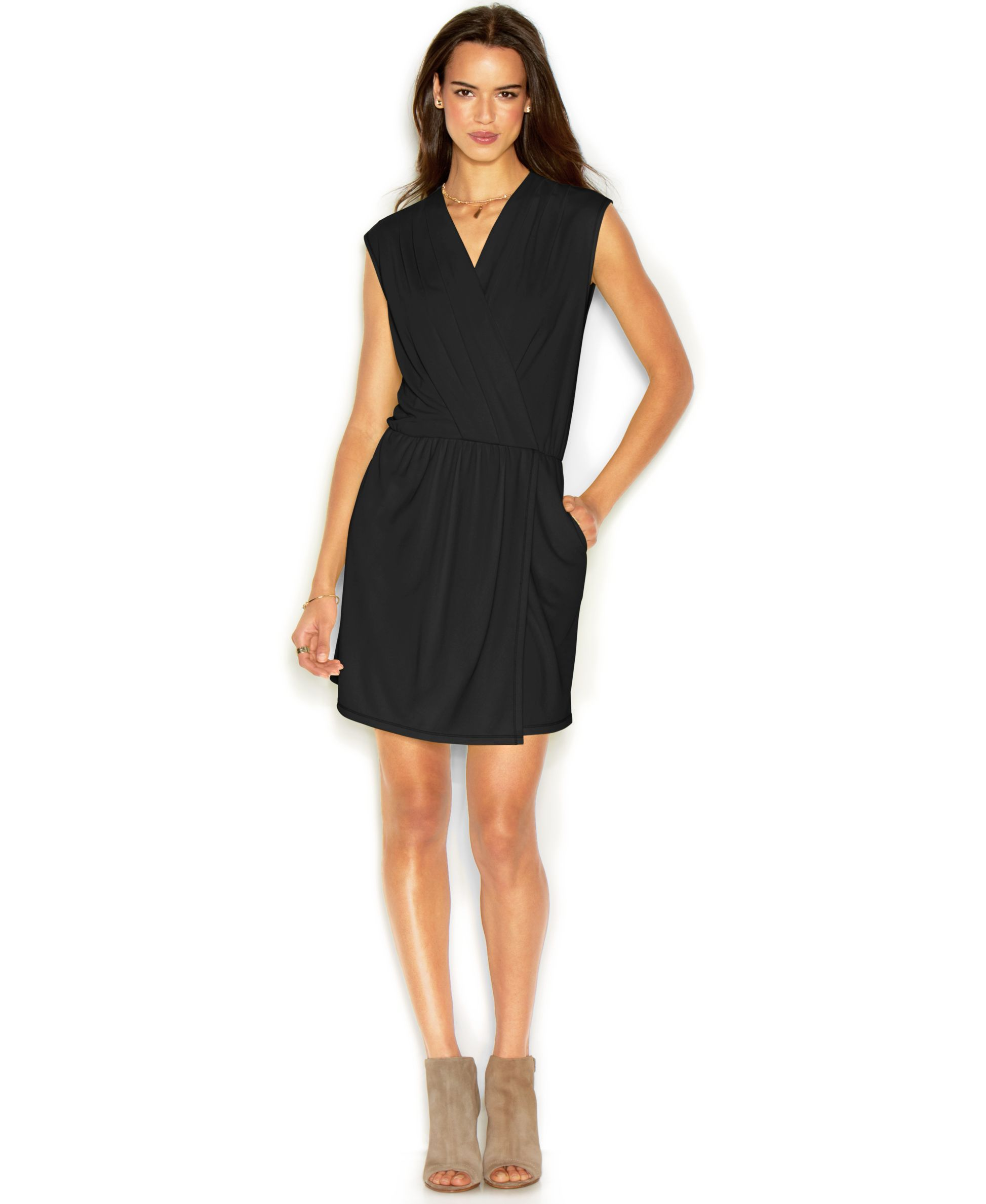 Rachel Roy 24 Hour Dress Sleeveless Surplice Neck Faux Wrap