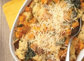 Savory Butternut Squash Bread Pudding: You can make this savory pudding a day in advance. Keep it in the refrigerator, unbaked and tightly wrapped, and then bake for an additional 10 to 15 minutes.