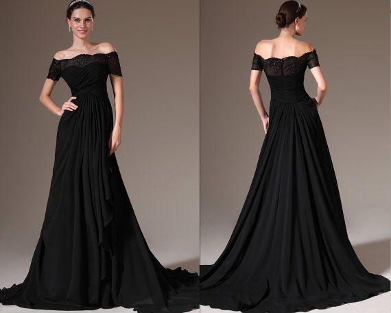 d1cfb1ef7 Vestido de noche vestido de mangas de encaje fuera del hombro negro  (02143800) por encargo