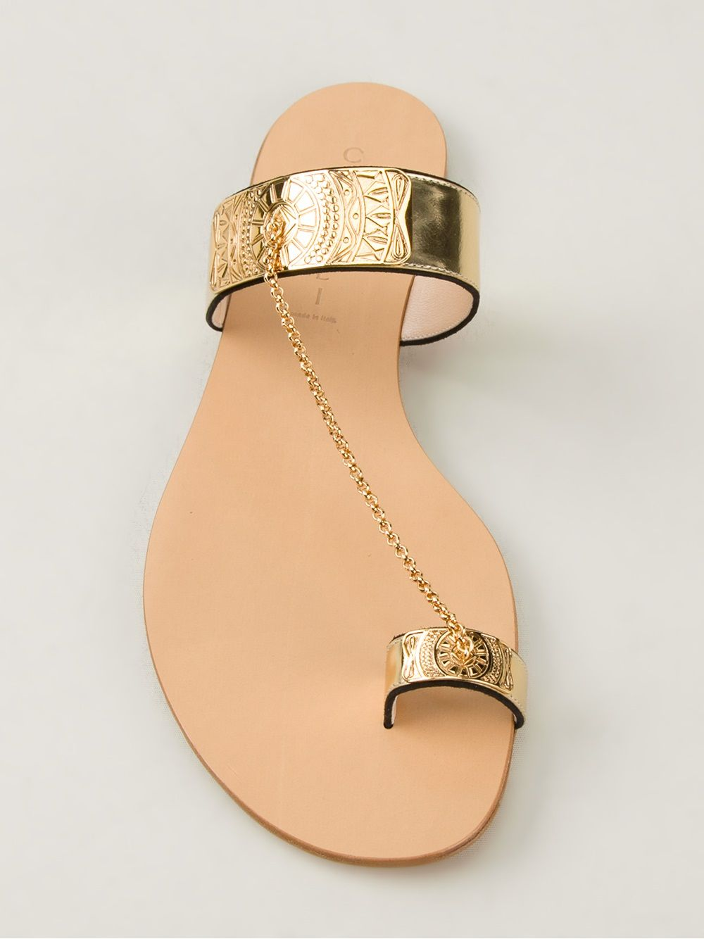 Stella Mccartney Gold Chain Flat Sandal At Barneys Com Flat Sandals Sandals Stella Mccartney