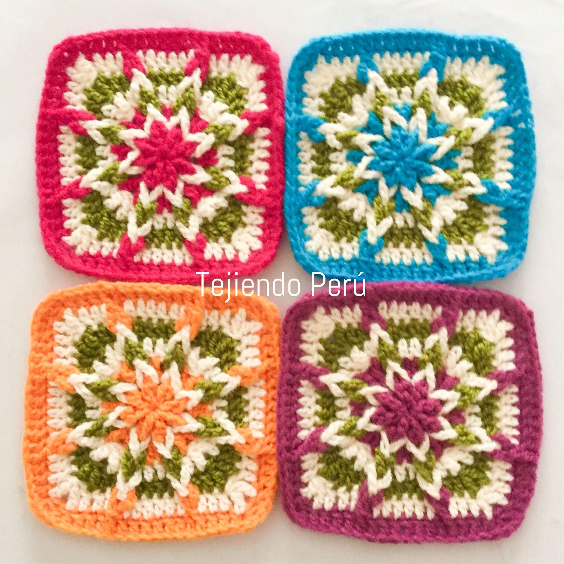 Crochet granny squares invertidos tejidos a crochet - Mantas de crochet paso a paso ...