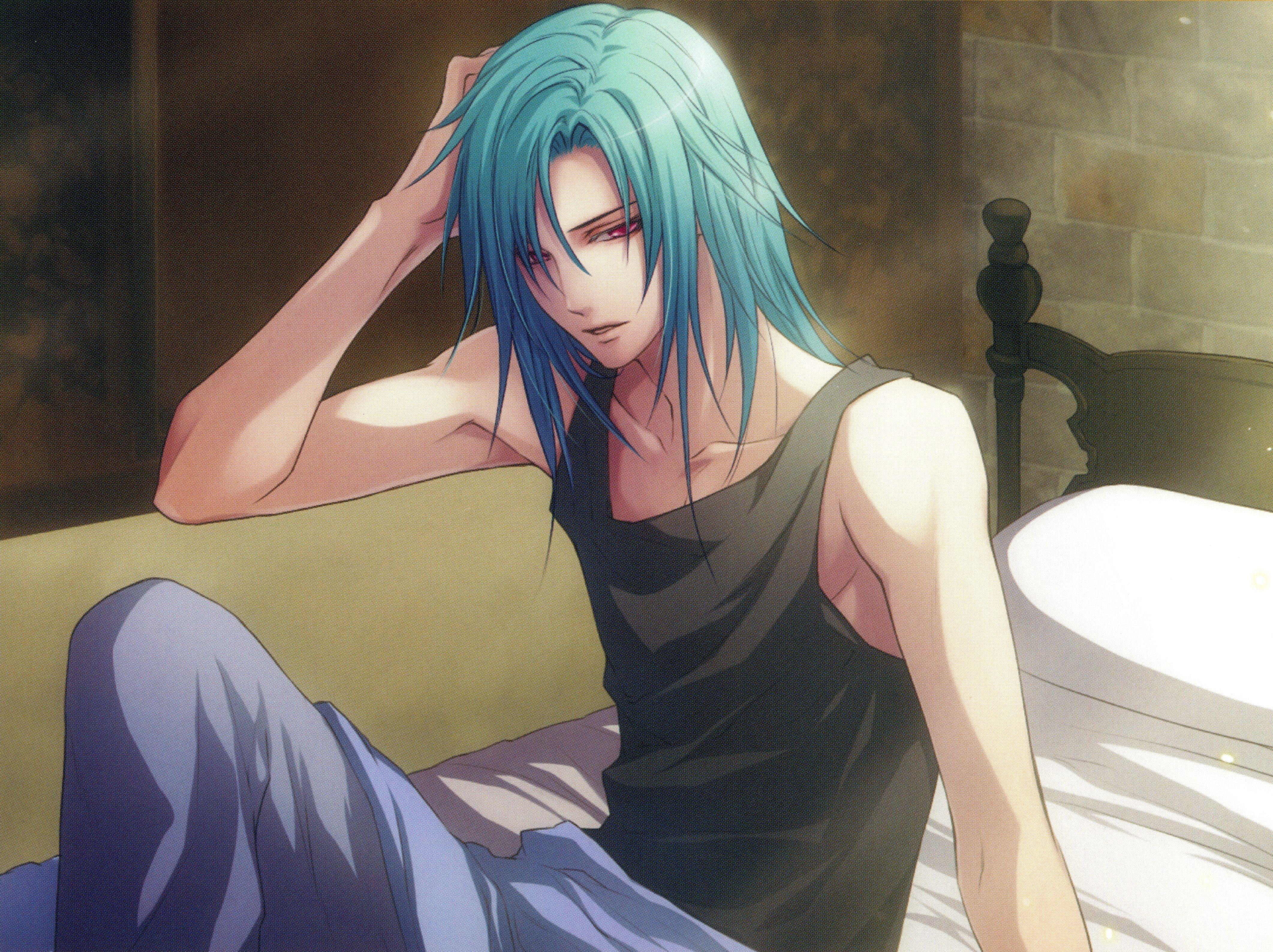 Pin By Half Bad On Fan Art Anime Guy Blue Hair Anime Guys Anime Guys Shirtless