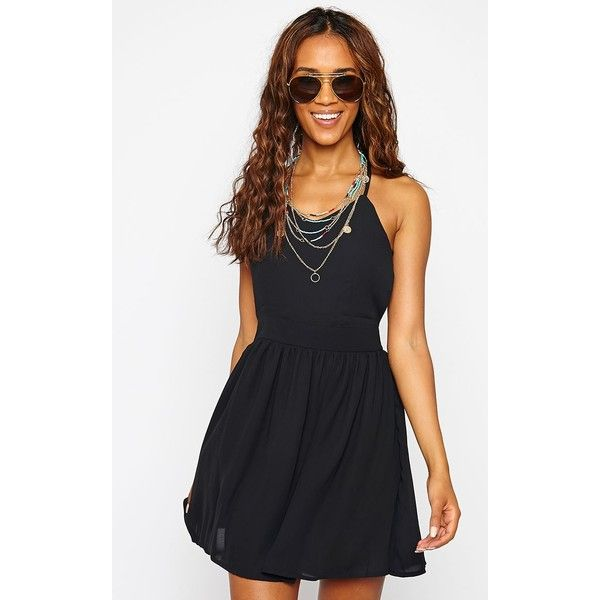 Black Cross Back Skater Dress ($17) ❤ liked on Polyvore featuring dresses, black, criss cross back skater dress, skater dress, black skater dress, sexy black dresses and black day dress