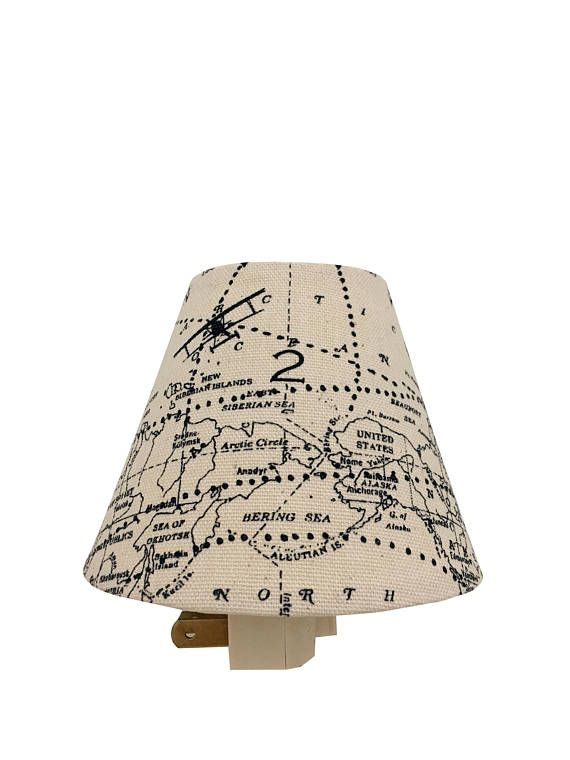 Airplane Night Light Vintage World Map Navy Blue Natural