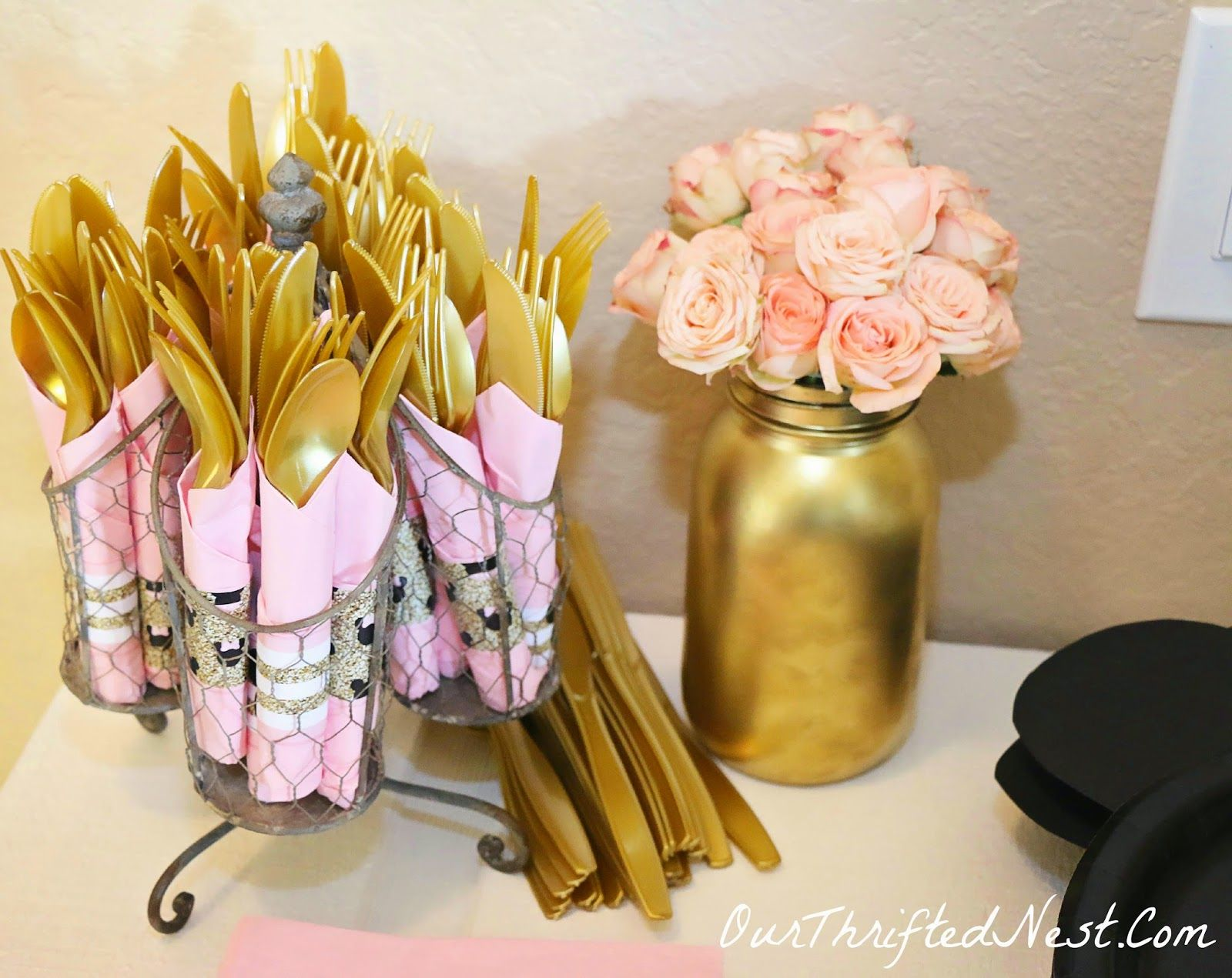 Minnie Mouse Themed Birthday Party: Wrapped Silverware, Gold Painted Mason  Jar, Fresh Pink