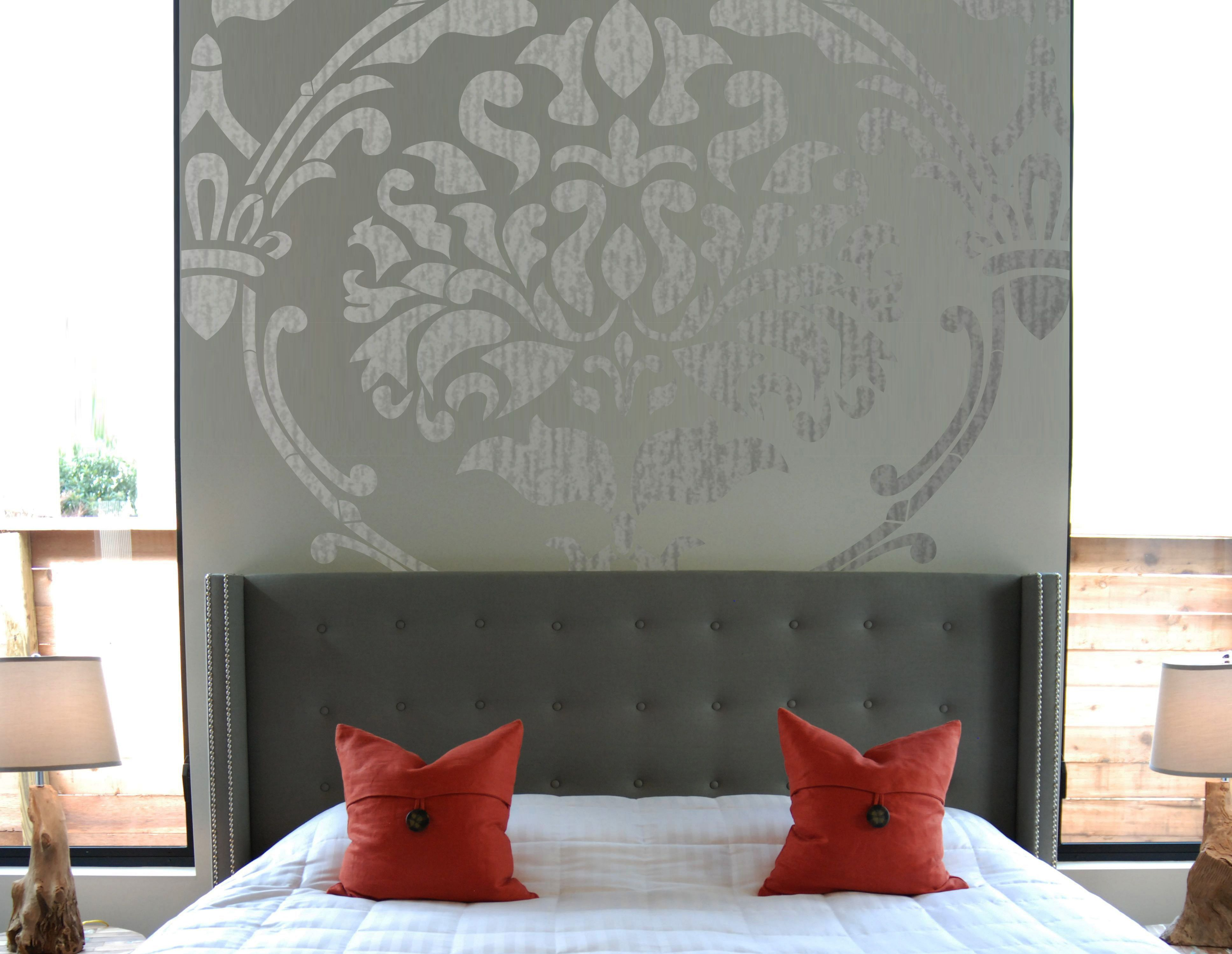 Wall Stencil Damask Extra Large Allower Pattern Wall Room Decor - Giant wall stencil