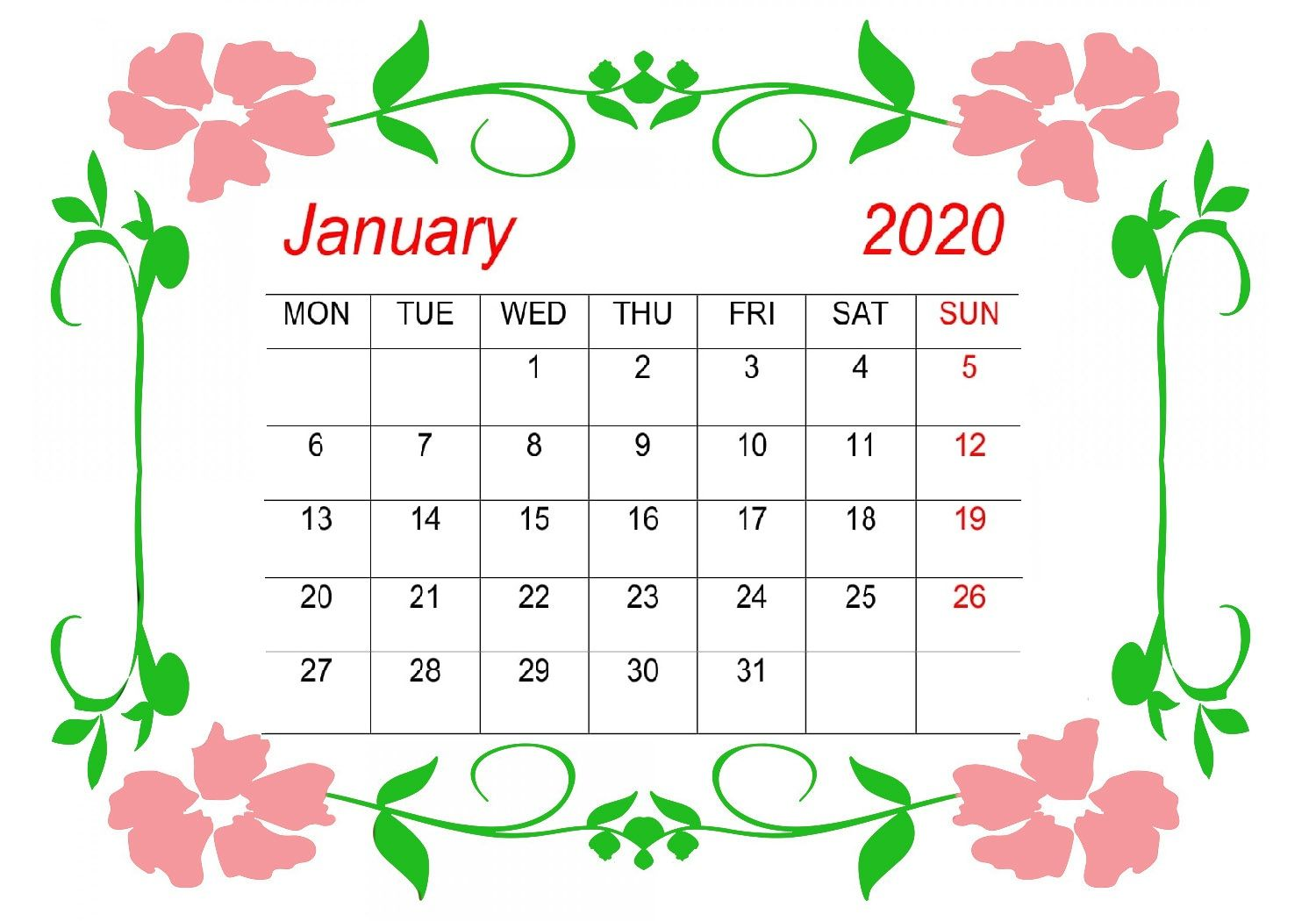 January 2020 Printable Calendar in PDF Word Excel With ...