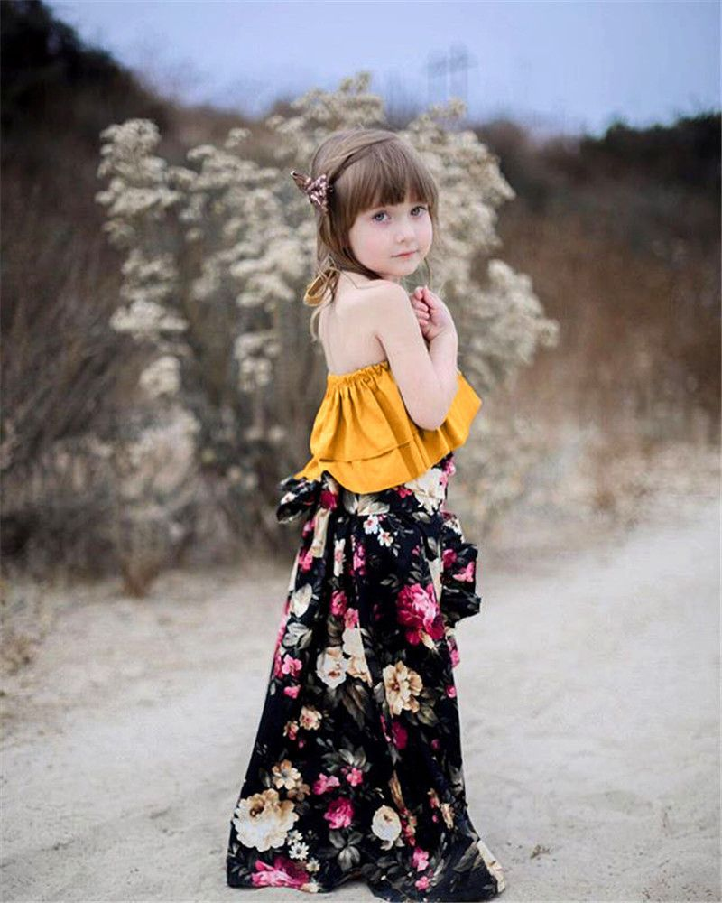 a8a97a974b75 Lovely Baby Girls Summer Fashion Clothes Sets Halter Crop Tops Flower  Printing Long Skirts Casual Loose Fashion Outfits Sets-in Clothing Sets  from Mother ...