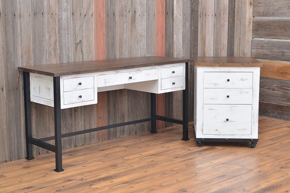 White Durango Desk Desk With Drawers Rustic Desk White Desks White desk with file cabinets