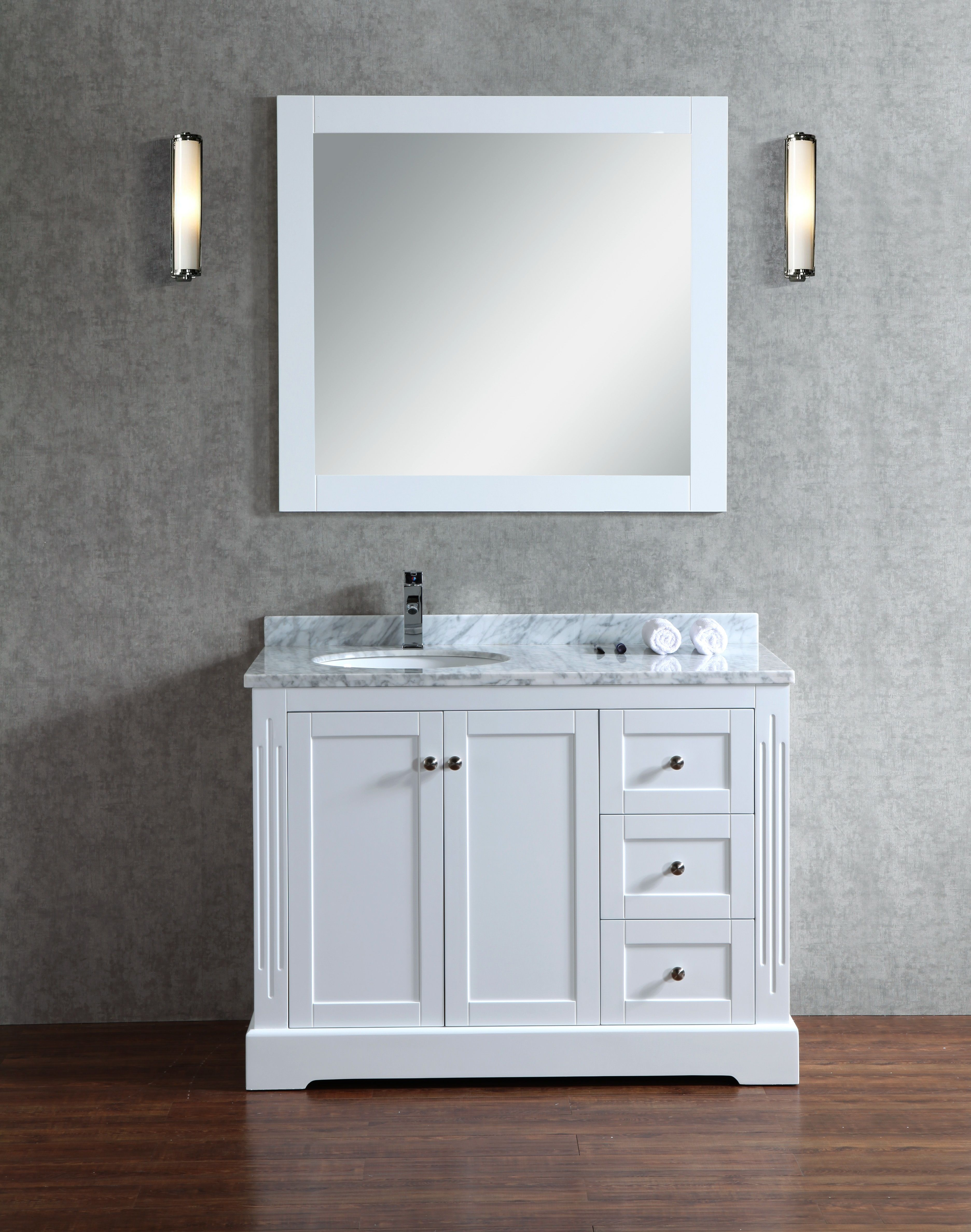 Octans 45 Inch White Vanity Bathroom Vanity Single Sink