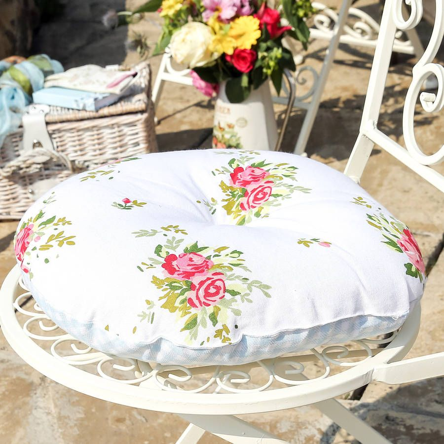 Set Of Four Helmsley Blush Chair Cushions Seat Pads Round Seat Cushions Floral Seat Pads