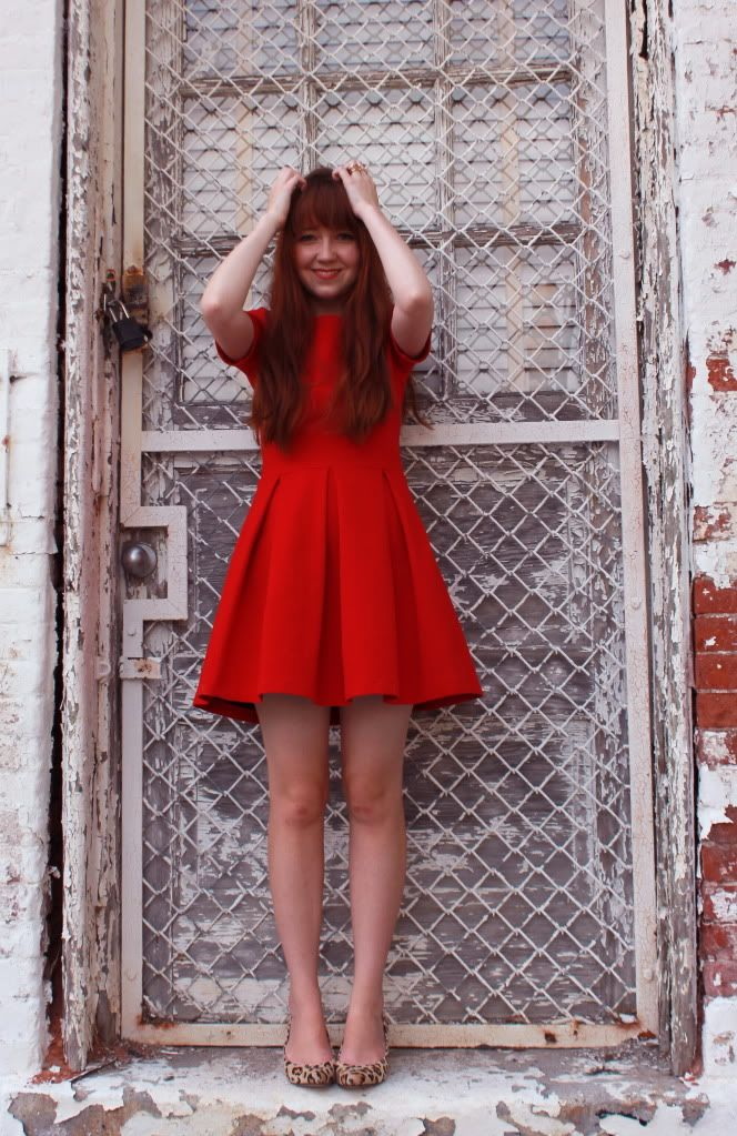 red dress and leopard shoes