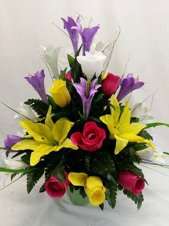No. 3031 Easter Lilies, lilies, Rose Buds, Yellow, White, Lavender ...