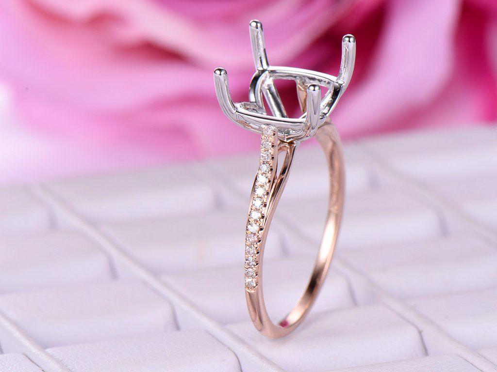 Diamond Engagement Semi Mount Ring 14K Two Tone Gold Cushion 10mm ...