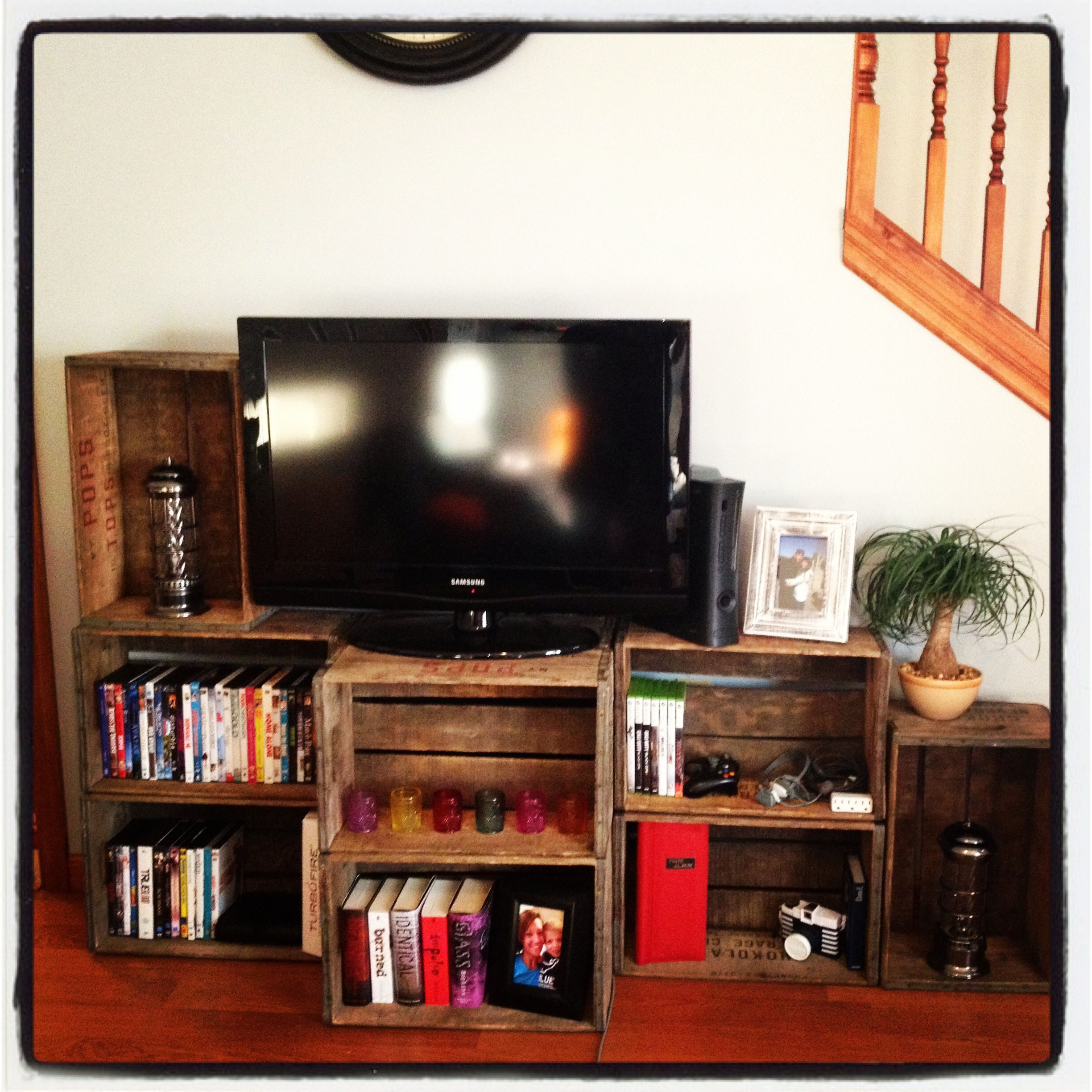 Soda Crate Entertainment Center We Made Today Diy Pinterest  # Meuble Tv Jeux Video