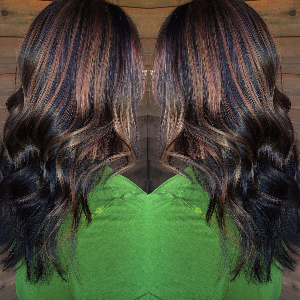 Dark Brown Hair Color With Halo Caramel Highlights Balayage Hair Hair Color