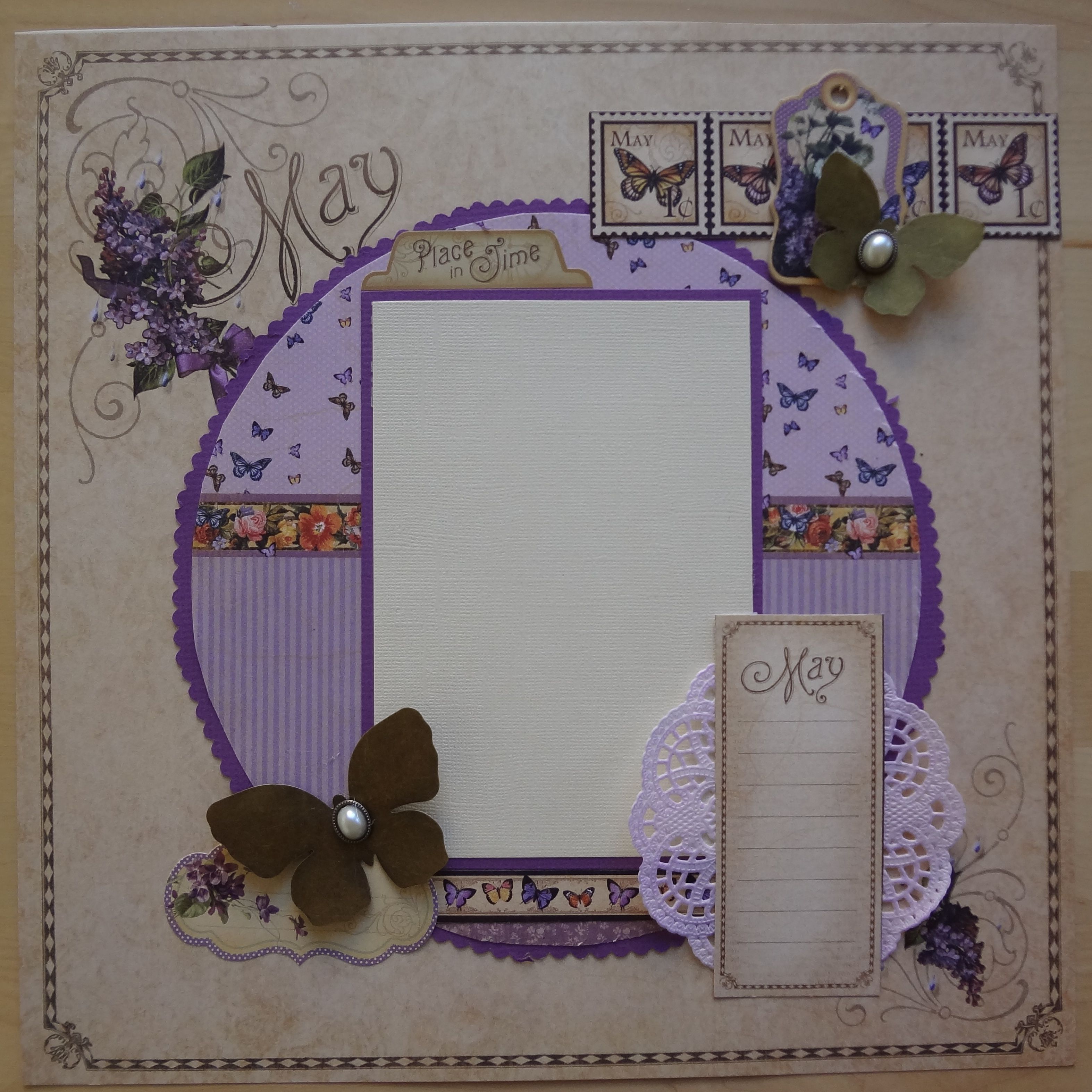 This is my take on this May layout with Place in Time from Graphic 45.