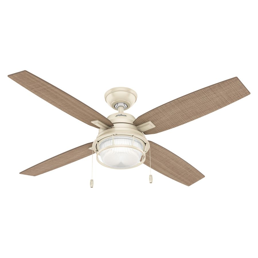 Hunter 52 In Autumn Creme Led Indoor Outdoor Ceiling Fan With Light Kit 4 Blade Lowes Com Ceiling Fan With Light Ceiling Fan Fan Light