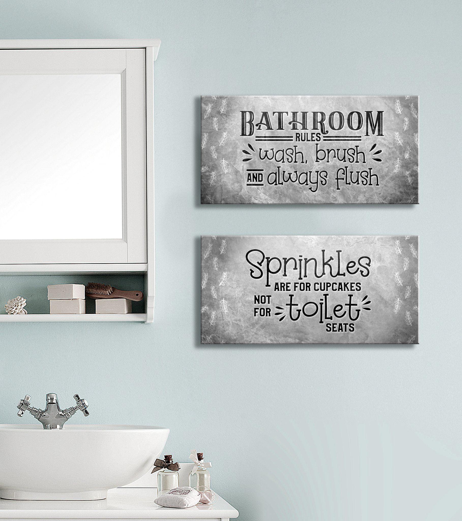 Bathroom Wall Art Set Of 2 Bathroom Rules Sprinkles Wood Frame Ready To Hang In 2020 Bathroom Rules Bathroom Wall Art Bathroom Wall
