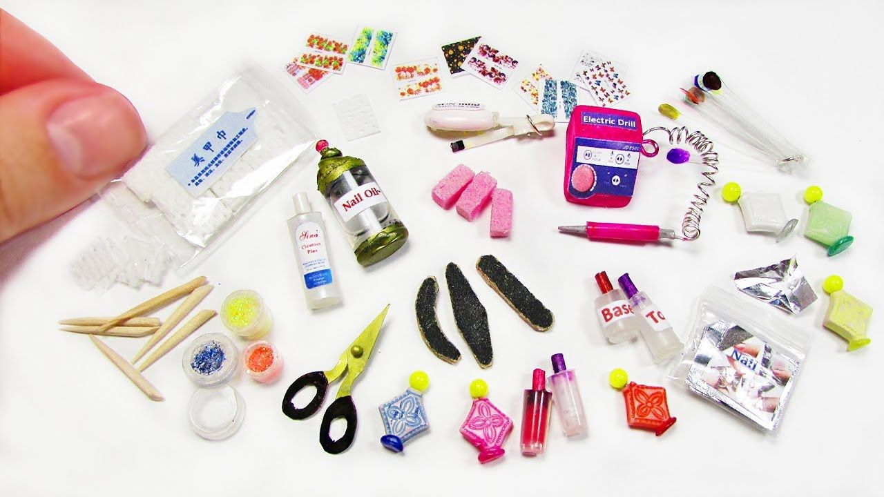 tutorial: miniature manicure tools (nail file, miniature scissors, mini lamp, miniature nail polish, glitter polish, orange stick)