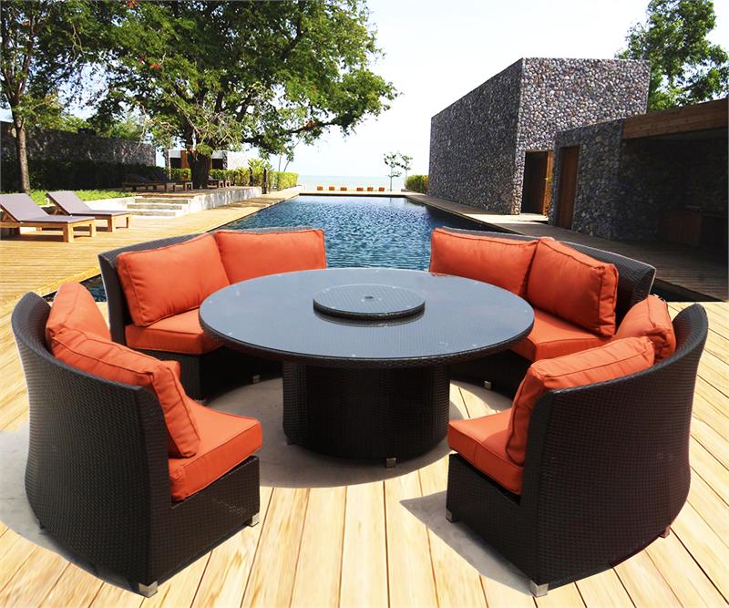 round outdoor wicker patio furniture set CASSANDRA ROUND OUTDOOR WICKER DINING SOFA SET PATIO