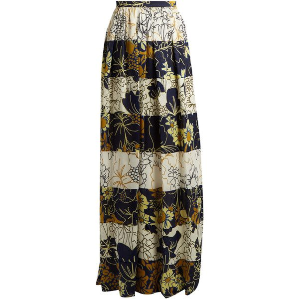 Roksanda Myla striped floral-print silk maxi-skirt (3.580 BRL) ❤ liked on  Polyvore featuring skirts, navy white, long floral skirts, high waisted maxi  ...