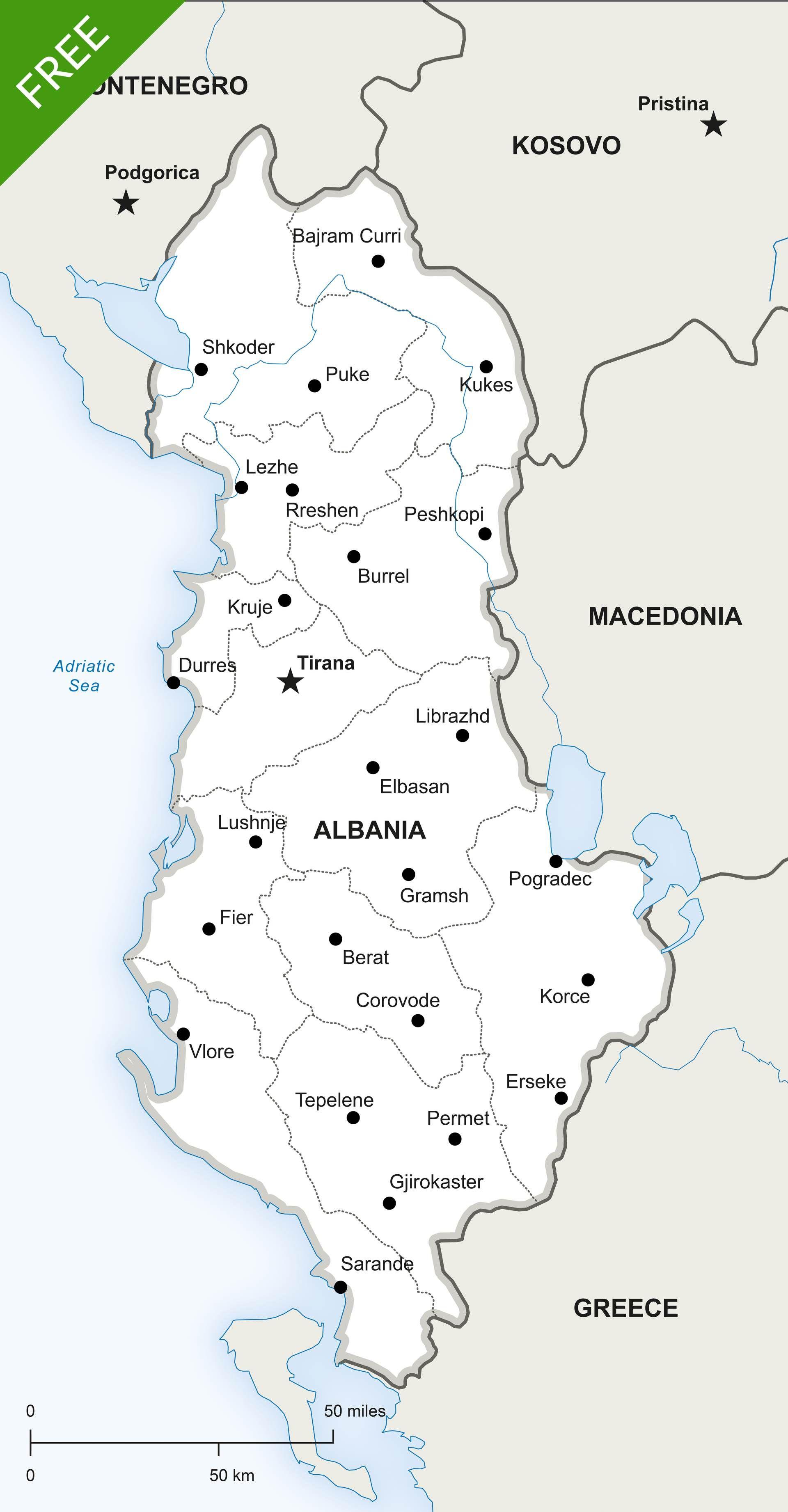Free vector map of albania political albania europe continent free vector map of albania political gumiabroncs Choice Image