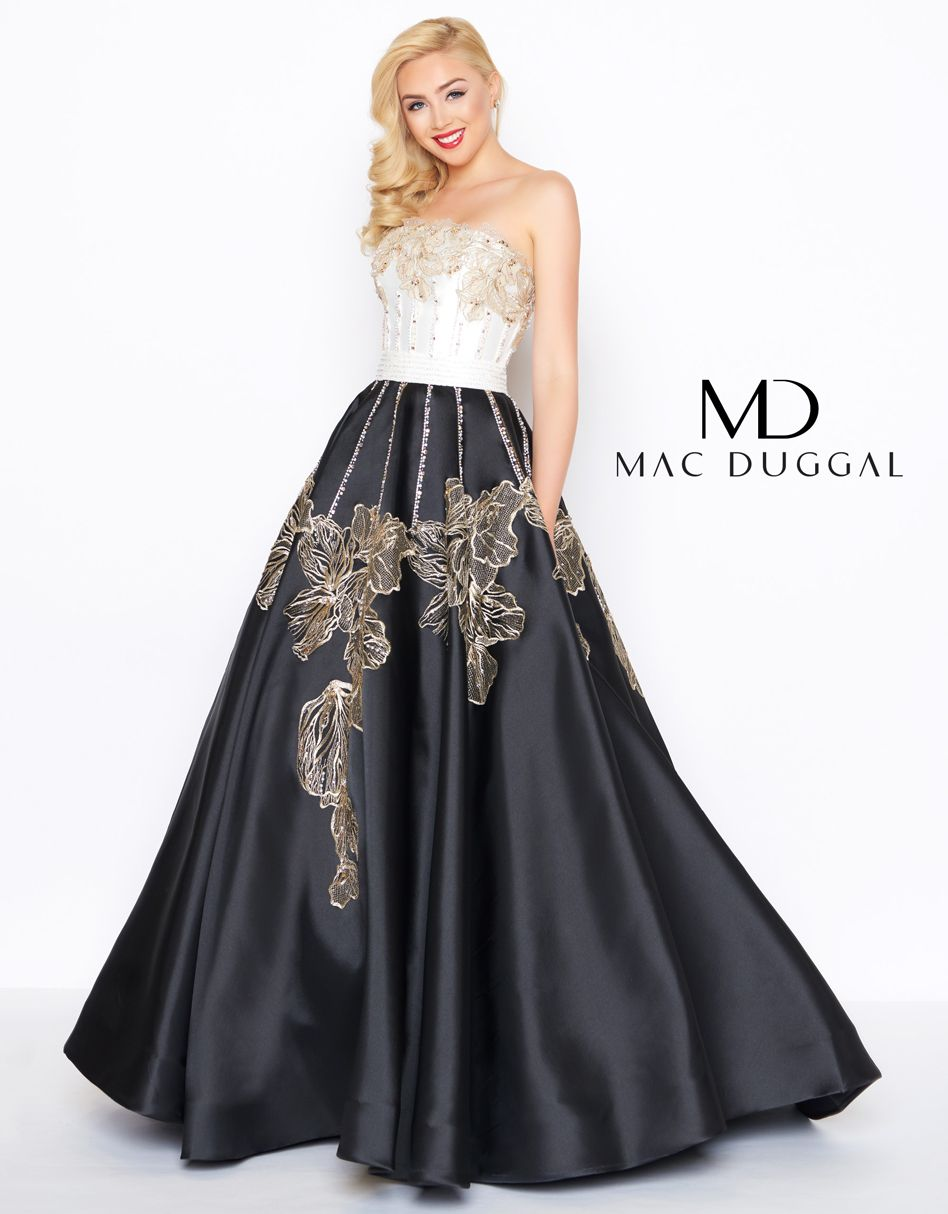 Sophisticated black and white strapless mikado ball gown. Skirt and bodice  accented with gold floral appliques outlined by small rhinestone detail to  add ... dd022f167e1f