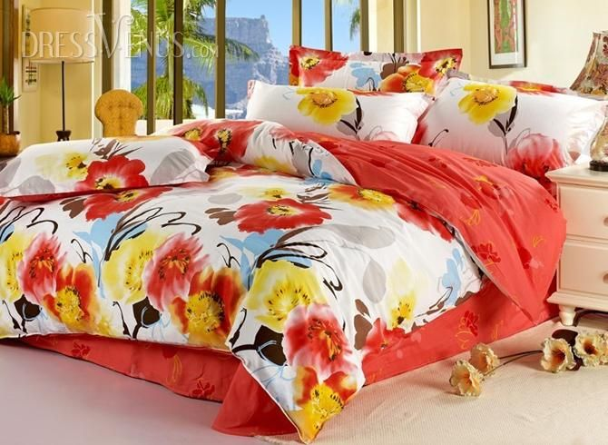Splendid Flowers In Red And Yellow Color Comforter 4 Piece Bedding Sets With Bright Colors Young Couple S Bedding Sets Cotton Bedding Sets Colorful Comforter Bright colored bedding sets