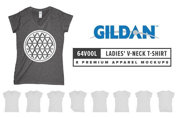 Gildan 64V00L Ladies\' V-Neck T-Shirt | Mockup