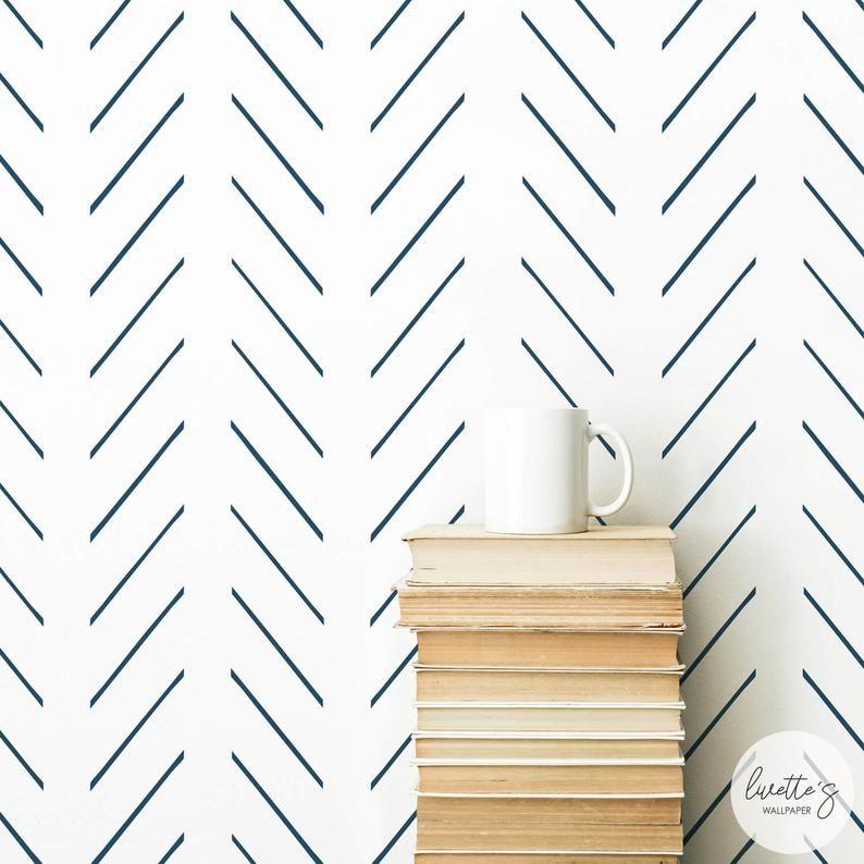 Navy Herringbone Wallpaper Baby Boy Nursery Wall Decor Etsy Herringbone Wallpaper Nursery Wall Decor Boy Nursery Wallpaper