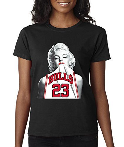 14aec2d1660 New Way 193 Womens TShirt Marilyn Monroe Bulls 23 Michael Jordan Large  Black >>> Find out more about the great product at the image link.
